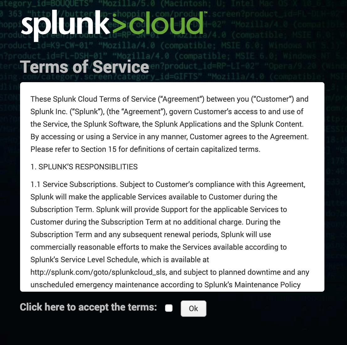 Splunk Cloud terms of service